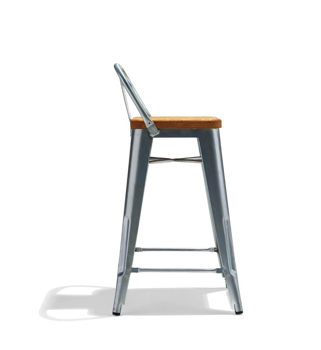 Low Back Counter Stool With A Wood Seat