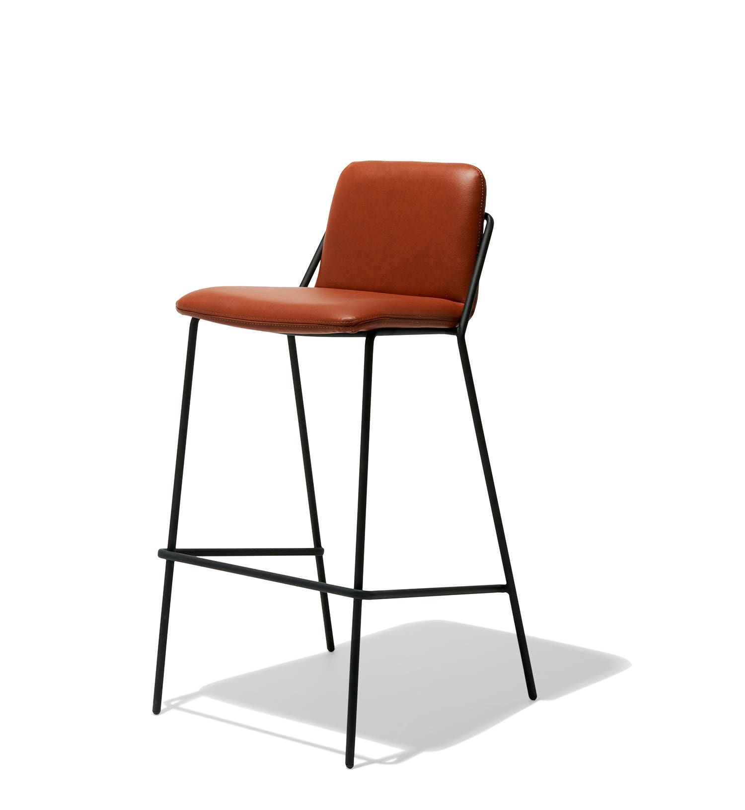 description . sling bar stool leather