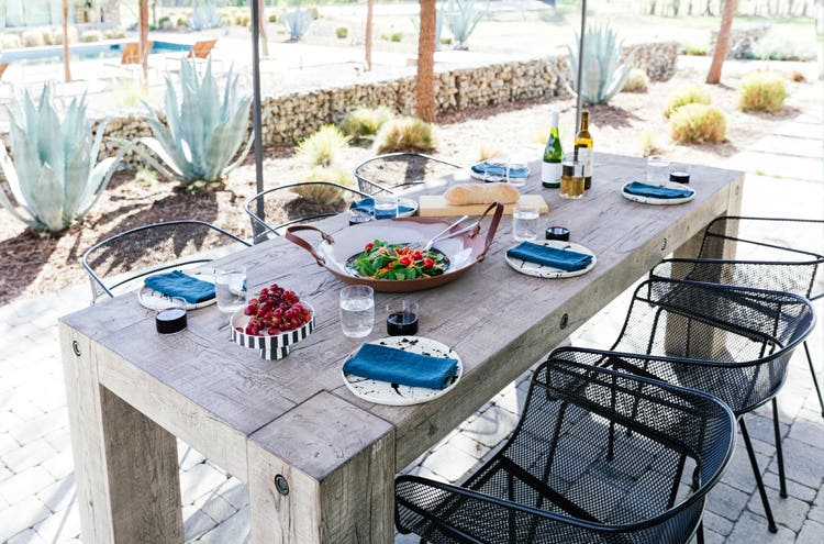 Outdoor dining and lounge space with Industry West
