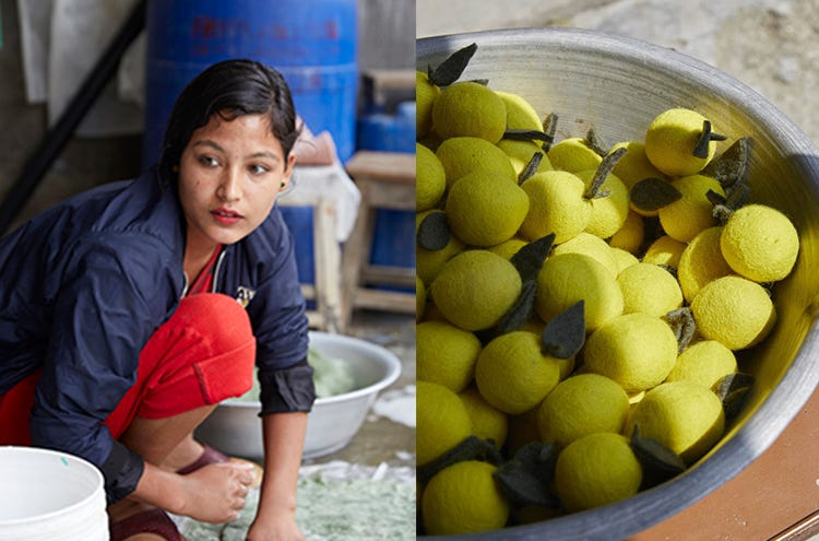Two images side by side, the first of a female artisan at MUSKHANE working with felted wool, and the second of a bowl of yellow wool balls made to look like fruit