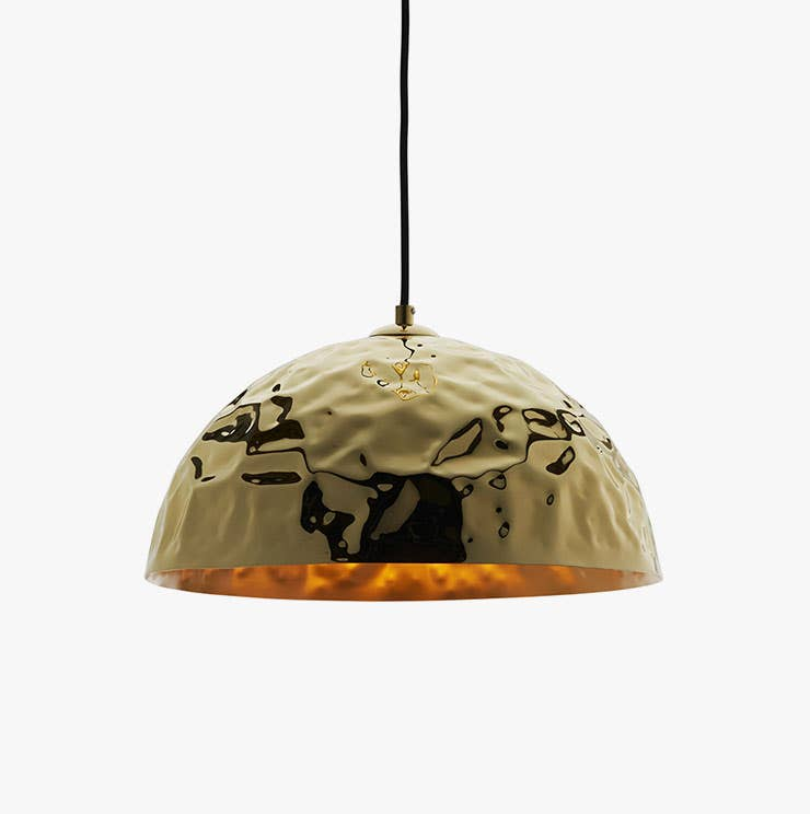 Brass hammered metal dome pendant from Industry West