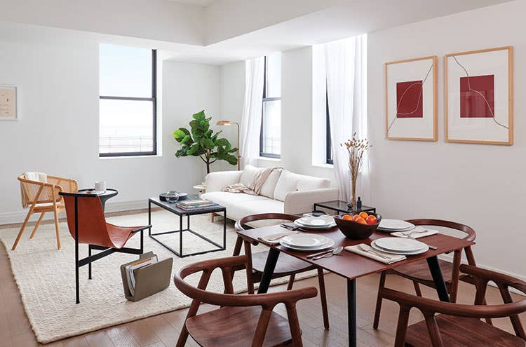 Industry West dining and living furniture in a NYC apartment