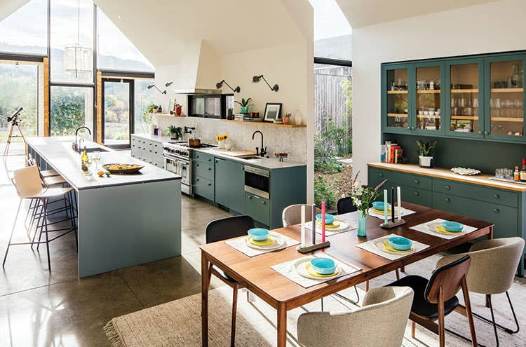 A kitchen and dining room outfitted with Favor tableware and accessories