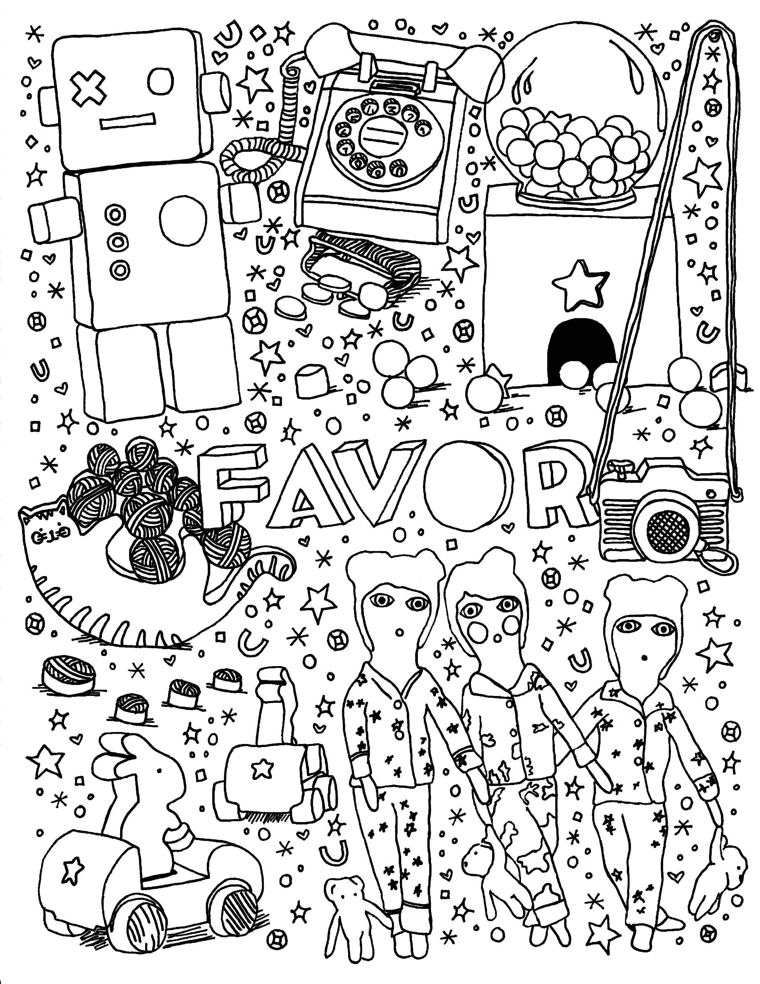 Favor coloring page