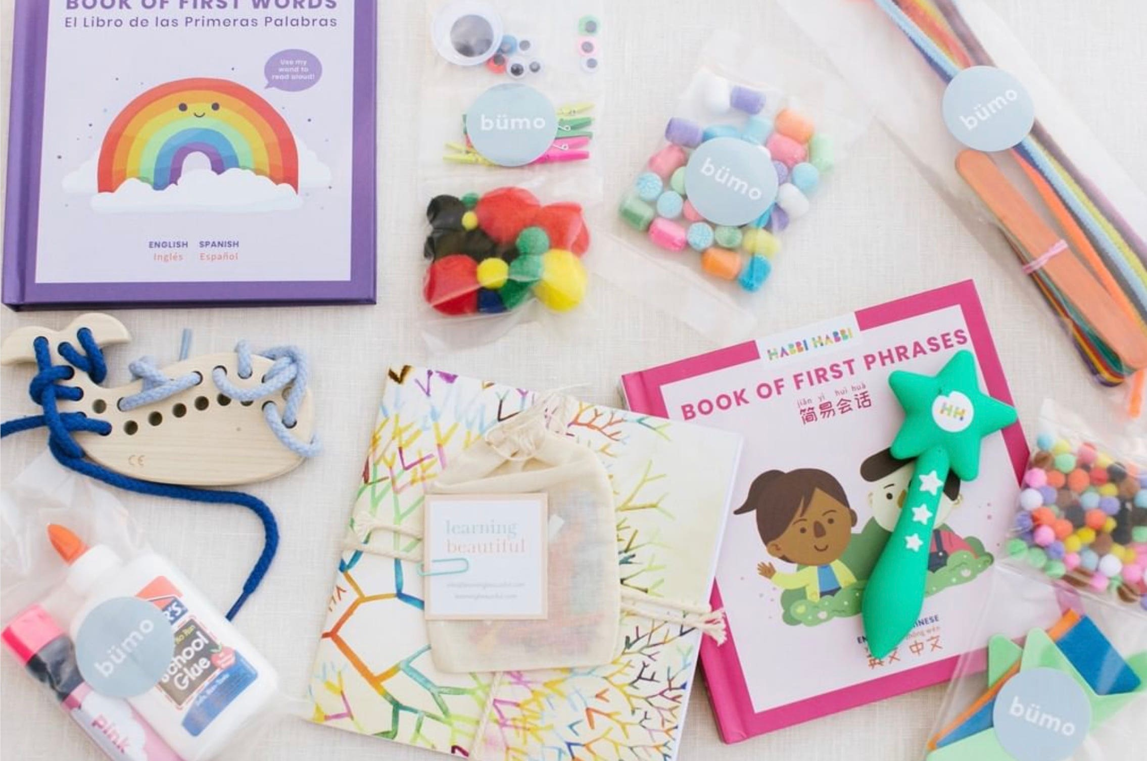 Contents of bumobox for bumo Virtual School including Favor Maple Whale Lacing Toy
