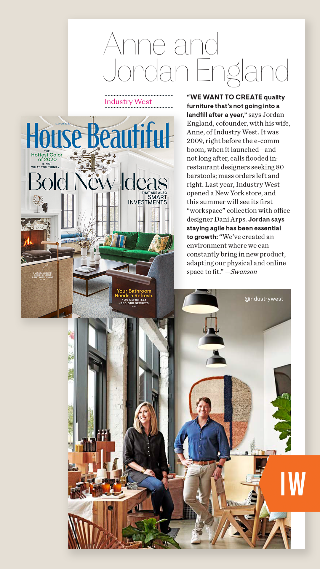 Industry West founders Jordan and Anne England in House Beautiful Magazine