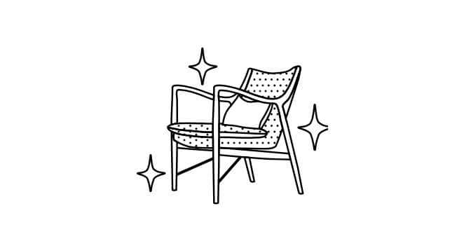 Illustration of a chair that is sparkling clean.