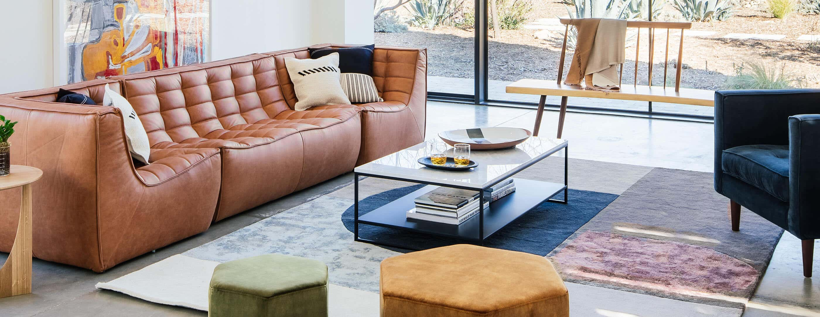Modular Sofa in IW-styled Living Room