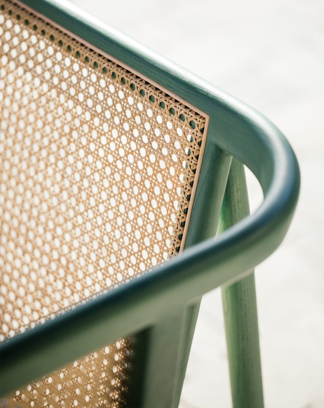 Detailed look of a cane Hem bench