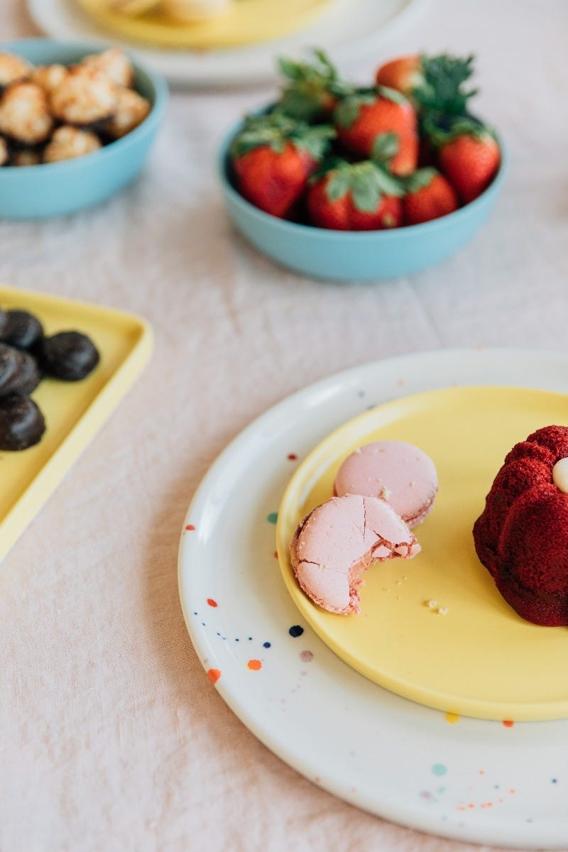 Felt+Fat ceramic plates with fruit and baked goods