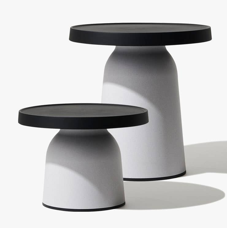 Two black and white Thick Top side tables from Industry West