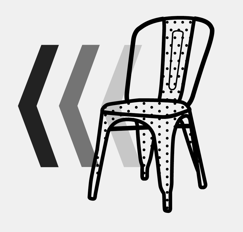 Illustration of a chair moving quickly.