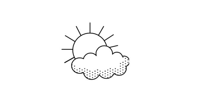 Illustration of a sun behind the clouds.