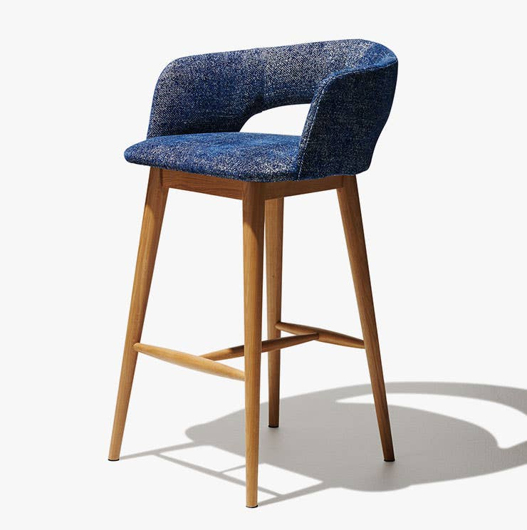 Industry West Savoy bar stool upholstered in blue fabric