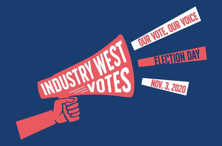 "A red, white and blue illustratiion of a hand holding a megaphone that says ""Industry West Votes"""